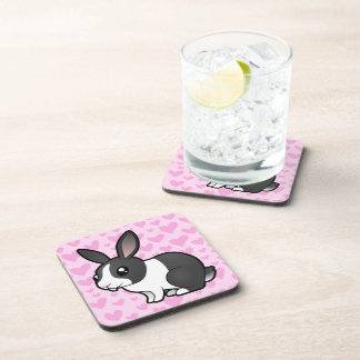 Rabbit Love (uppy ear smooth hair) Beverage Coaster