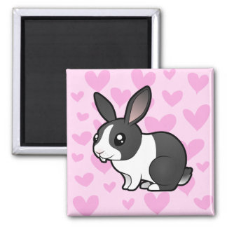 Rabbit Love (uppy ear smooth hair) 2 Inch Square Magnet