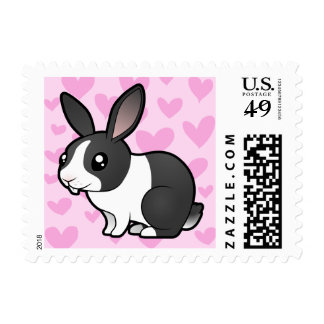 Rabbit Love (uppy ear smooth hair) Postage Stamp