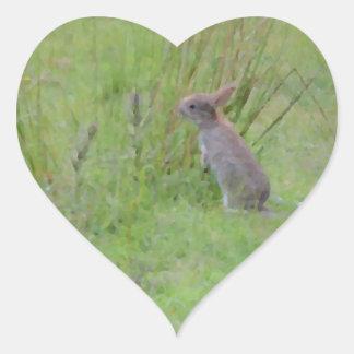 Rabbit Meadow Heart Sticker