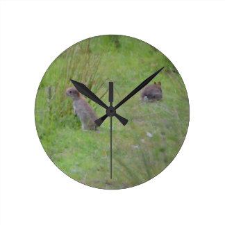 Rabbit Meadow Round Clock