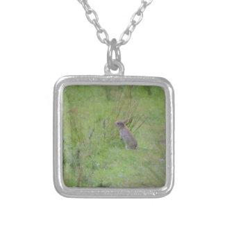 Rabbit Meadow Square Pendant Necklace