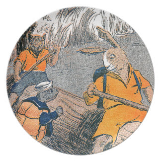 Rabbit Meets Turtle on River Outing Dinner Plate