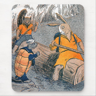 Rabbit Meets Turtle on River Outing Mouse Pads
