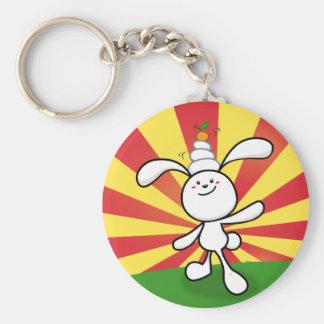 Rabbit Mochi Balance! Basic Round Button Keychain
