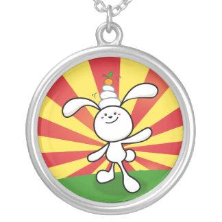 Rabbit Mochi Balance! Round Pendant Necklace