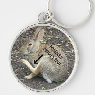 "RABBIT ""MY LUCKY  RABBIT'S FOOT"" KEYCHAIN"