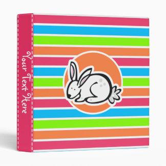 Rabbit; Neon Orange Pink Blue Green Stripes Binder