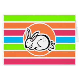 Rabbit; Neon Orange Pink Blue Green Stripes Card