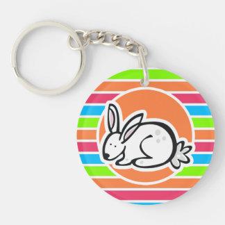 Rabbit; Neon Orange Pink Blue Green Stripes Key Chains