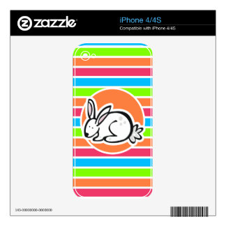 Rabbit; Neon Orange Pink Blue Green Stripes Decal For iPhone 4