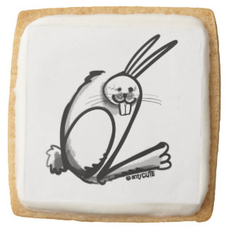 rabbit number 62 for party square shortbread cookie
