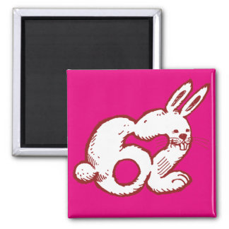 rabbit number 62 funny cartoon 2 inch square magnet