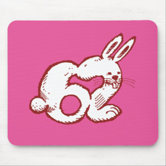 rabbit number 62 funny cartoon mouse pad