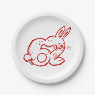 rabbit number 62 paper plate