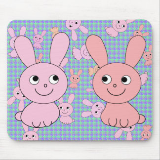 Rabbit of pink mouse pad