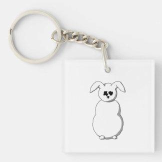 Rabbit of Snow, Cartoon. Single-Sided Square Acrylic Keychain