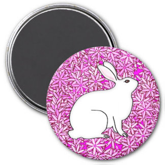 Rabbit on a bed of spring flowers 3 inch round magnet