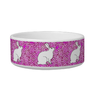 Rabbit on a bed of spring flowers bowl