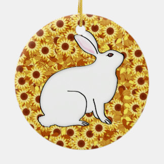 Rabbit on a bed of spring flowers ceramic ornament