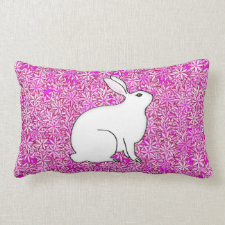 Rabbit on a bed of spring flowers throw pillow