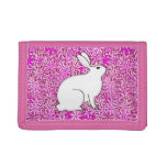 Rabbit on a bed of spring flowers tri-fold wallet