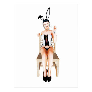 Rabbit on a chair postcard