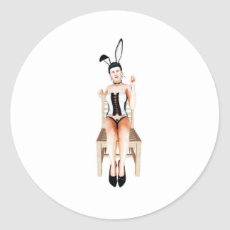 Rabbit on a chair classic round sticker