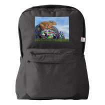 Rabbit on its colorful egg for Easter - 3D render American Apparel™ Backpack