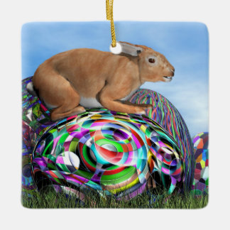 Rabbit on its colorful egg for Easter - 3D render Ceramic Ornament