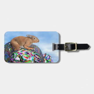 Rabbit on its colorful egg for Easter - 3D render Luggage Tag