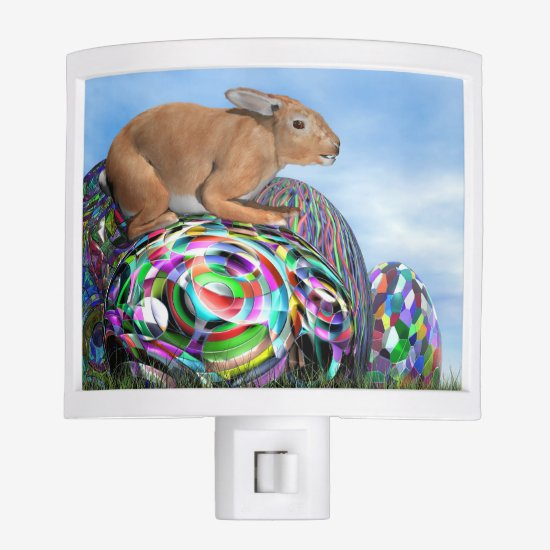 Rabbit on its colorful egg for Easter - 3D render Night Light