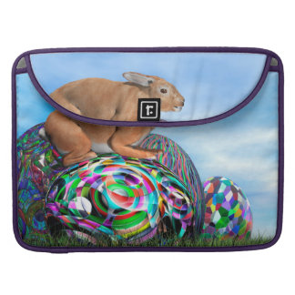 Rabbit on its colorful egg for Easter - 3D render Sleeve For MacBook Pro