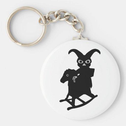rabbit on rocking horse icon basic round button keychain