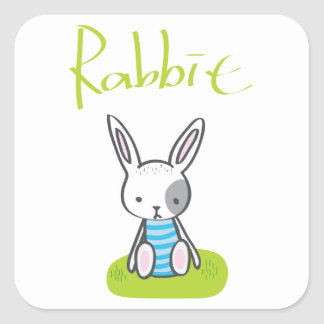 Rabbit on the grass square sticker