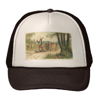 Rabbit on the trail with his Snail Easter Trucker Hat