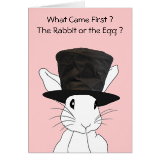 Rabbit or the Egg Pink Easter Card