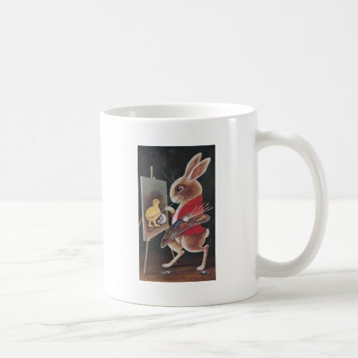 Rabbit Painting Chick Vintage Easter Classic White Coffee Mug