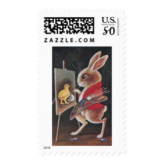 Rabbit Painting Chick Vintage Easter Postage