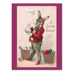 Rabbit Painting Easter Eggs Vintage Postcards