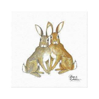 Rabbit pair wall art canvas print