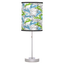 Rabbit Pattern in Blueberry and Lime Desk Lamp