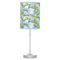 Rabbit Pattern in Blueberry and Lime Table Lamp