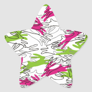 Rabbit Pattern in Raspberry and Lime Star Sticker