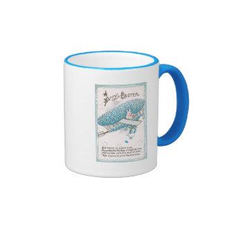 Rabbit Piloting Blue Flower Plane Vintage Easter Coffee Mug