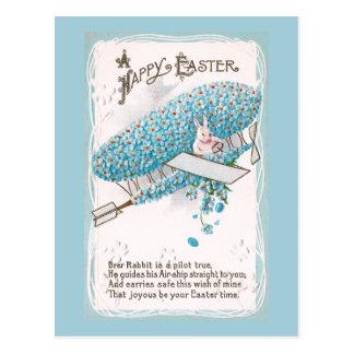 Rabbit Piloting Blue Flower Plane Vintage Easter Postcard