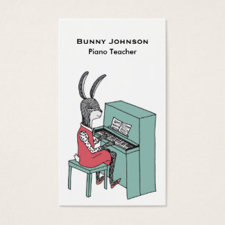 Rabbit Playing Piano Business Card
