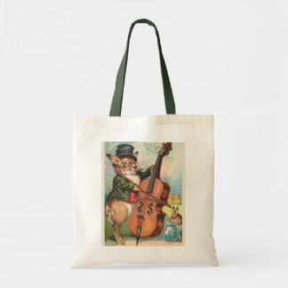 """Rabbit Playing the Cello"" Vintage Budget Tote Bag"