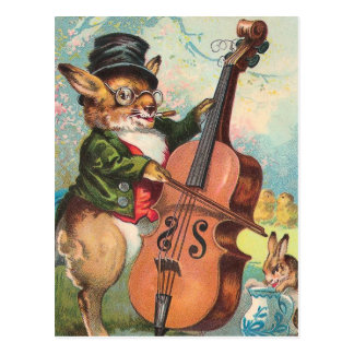 """Rabbit Playing the Cello"" Vintage Postcards"