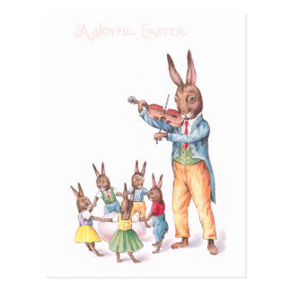Rabbit Playing Violin Vintage Easter Card